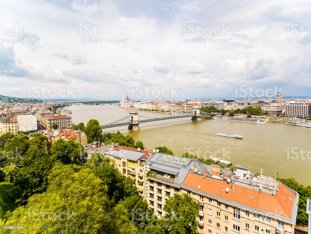 Széchenyi Chain Bridge in Budapest, Hungary stock photo