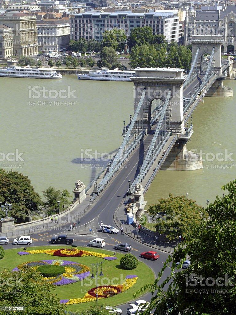 Széchenyi Chain Bridge on Danube river royalty-free stock photo
