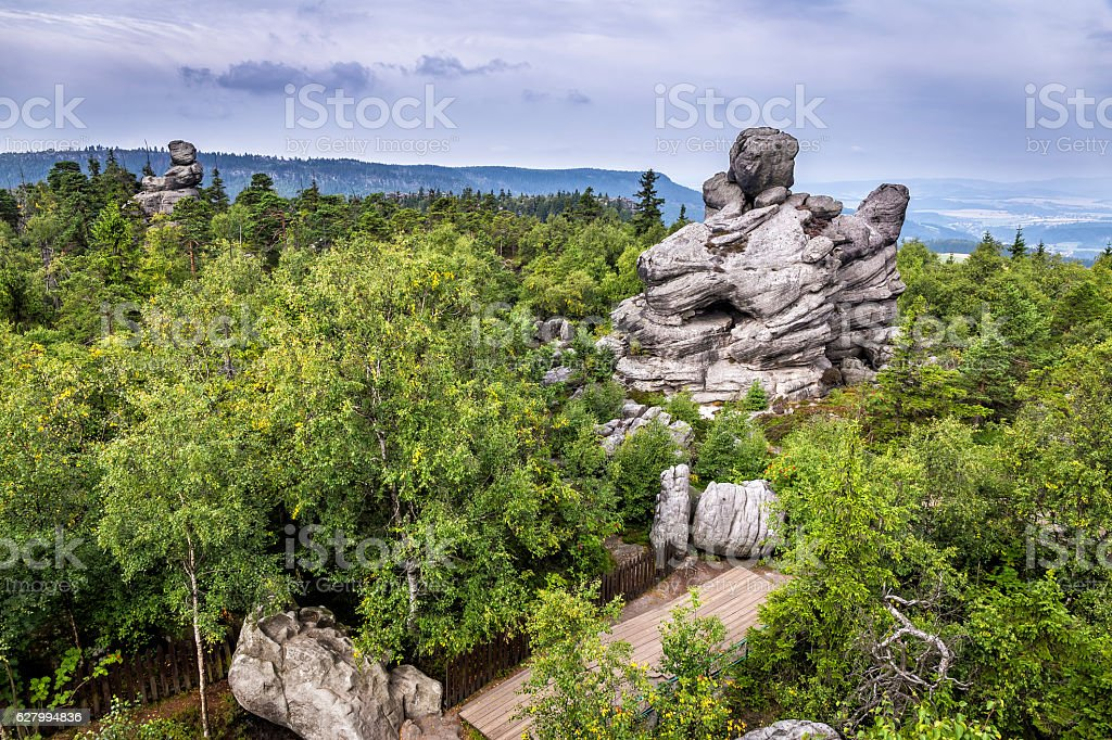 Szczeliniec Wielki  in the Table Mountains, Poland stock photo