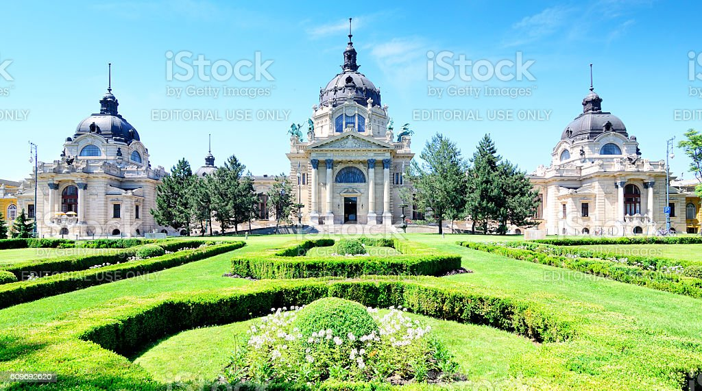 Szechenyi Baths, Budapest stock photo