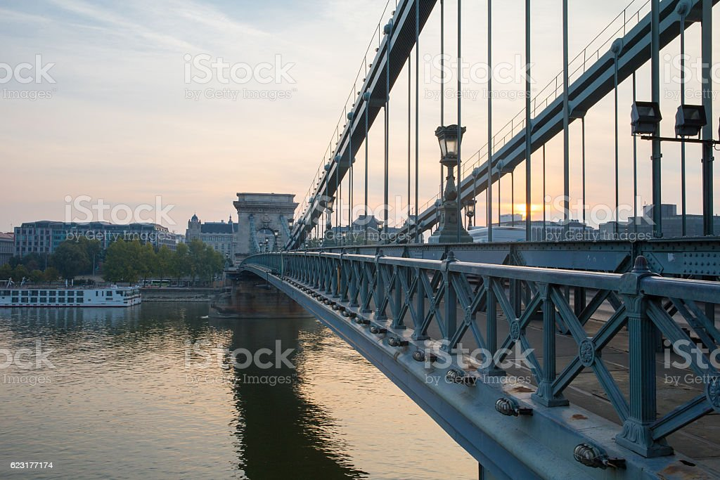 Szechenyi Bridge in Budapest Hungary. Beautiful Danube river. Night view. stock photo