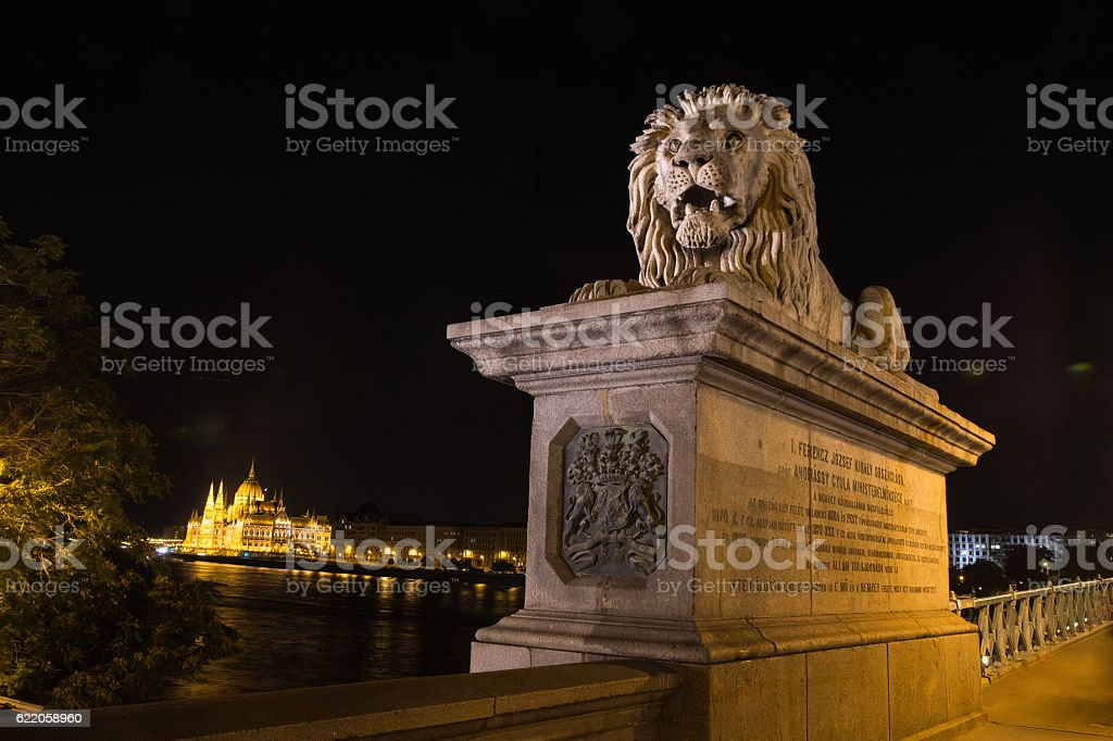 Szechenyi Bridge in Budapest Hungary. Beautiful  over the Danube. Best stock photo