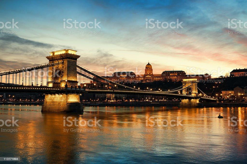 Szechenyi Chain Bridge and Royal Palace stock photo