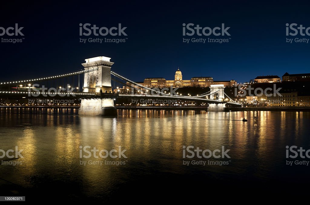 Szechenyi Chain Bridge and Royal Palace royalty-free stock photo