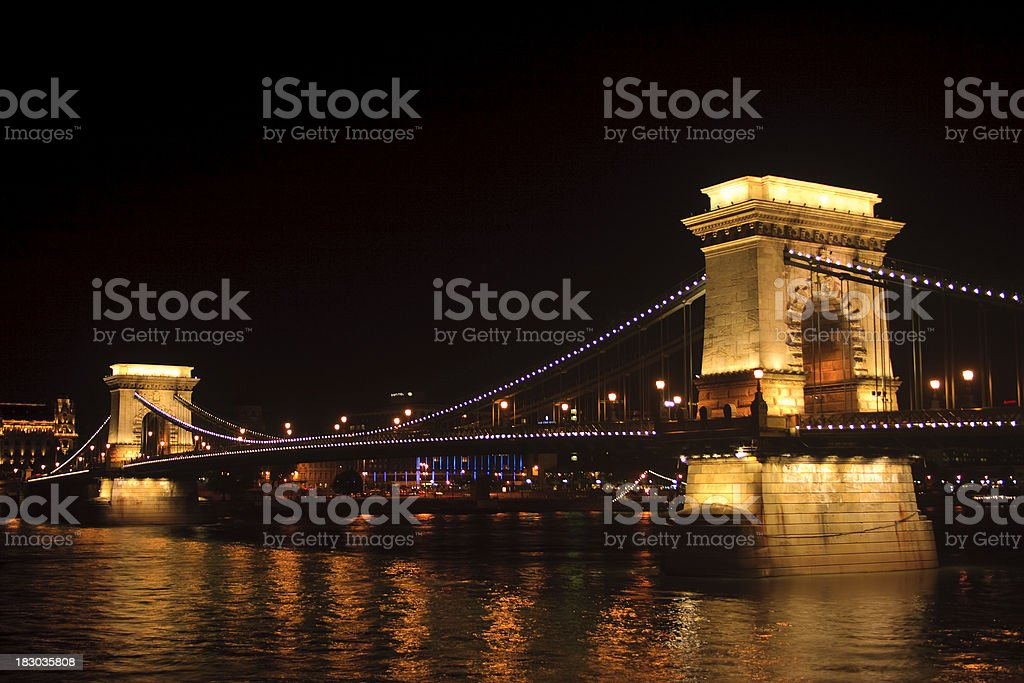 Szechenyi Chain Bridge and the Danube river royalty-free stock photo
