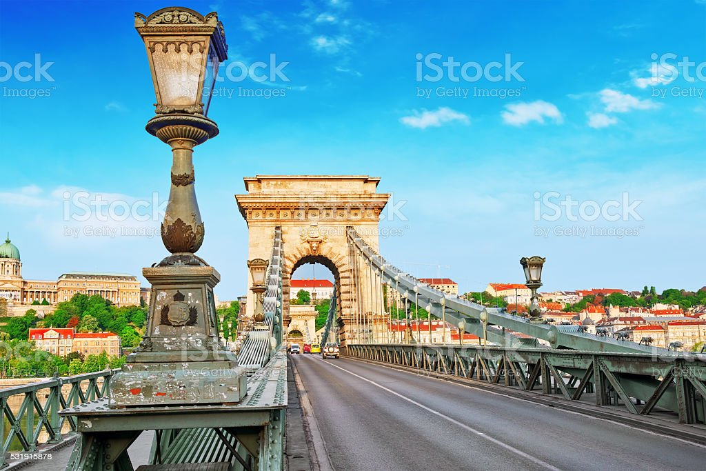 Szechenyi Chain Bridge at morning time. Budapest stock photo
