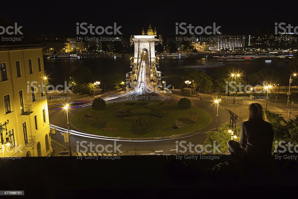 Szechenyi Chain Bridge, Budapest royalty-free stock photo