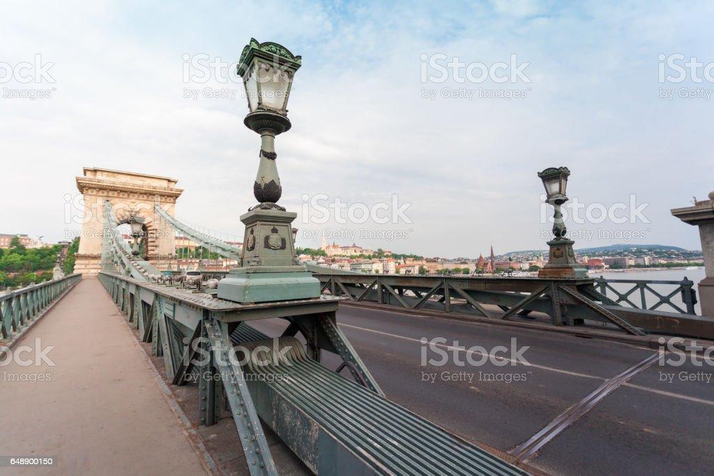 Szechenyi Chain Bridge in beautiful Budapest. Hungary. stock photo