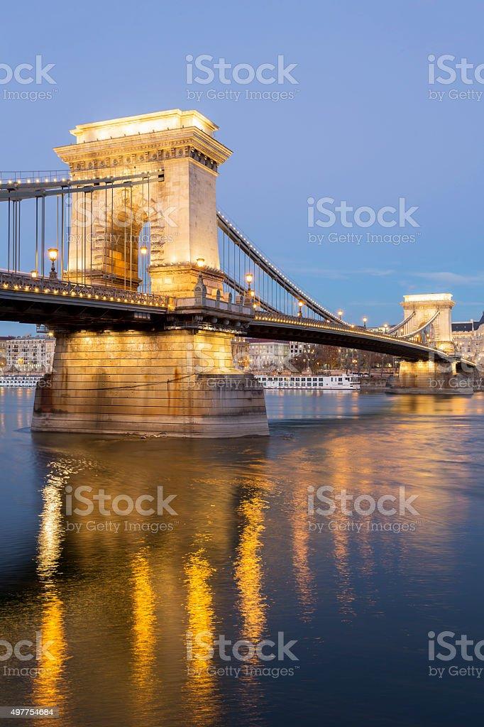 Szechenyi Chain Bridge in Budapest at dusk stock photo