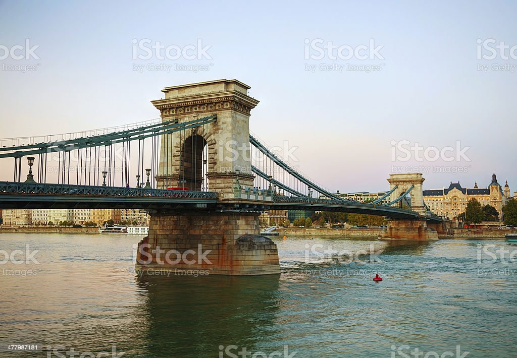 Szechenyi chain bridge in Budapest, Hungary royalty-free stock photo