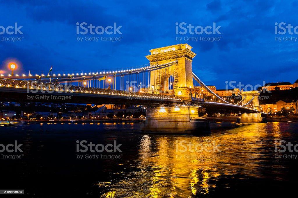 Szechenyi Chain Bridge in Budapest, Hungary stock photo