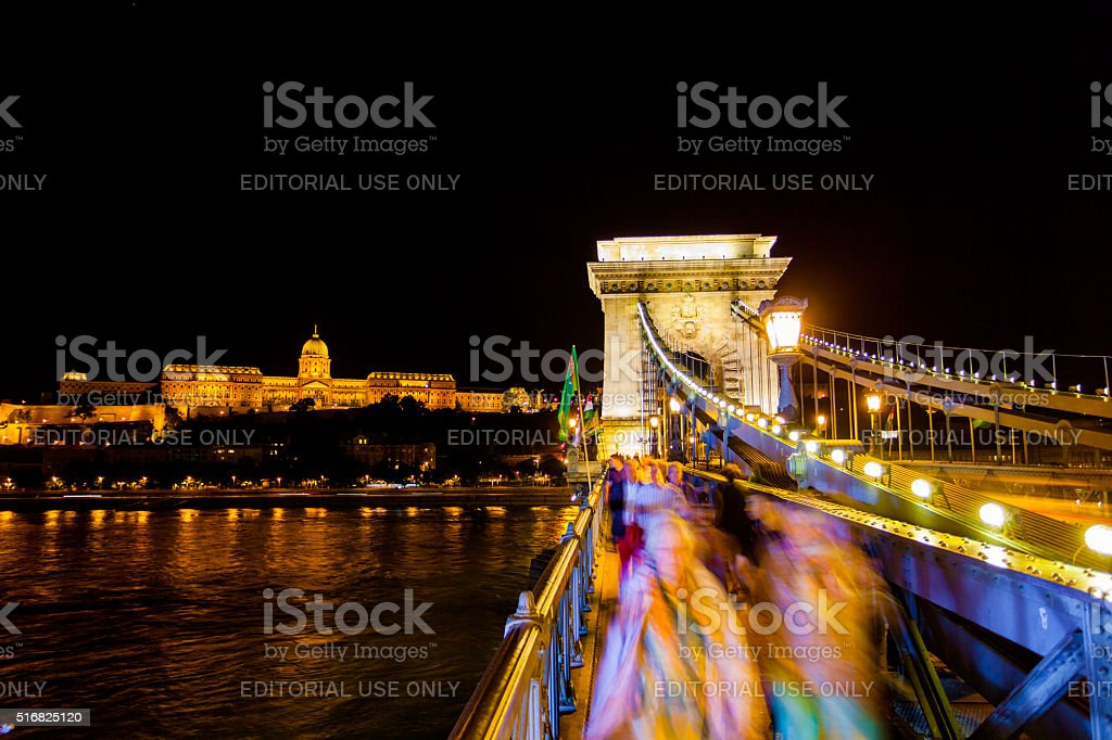 Szechenyi Chain Bridge in Budapest, Hungary stock photo