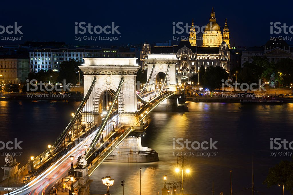 Szechenyi Chain Bridge in Budapest Hungary stock photo