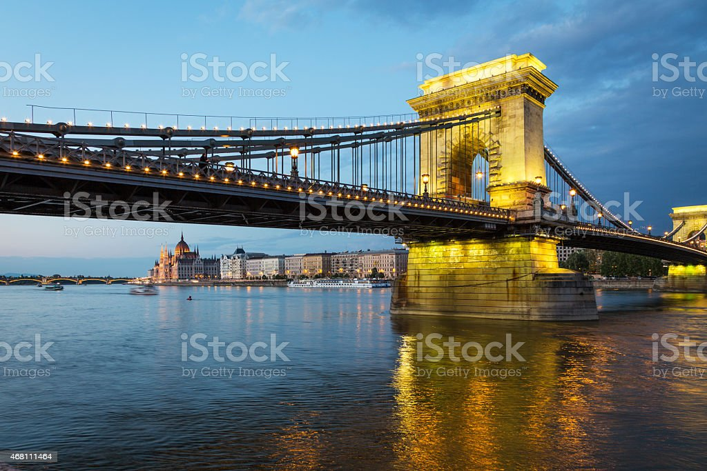 Szechenyi Chain Bridge in Budapest stock photo
