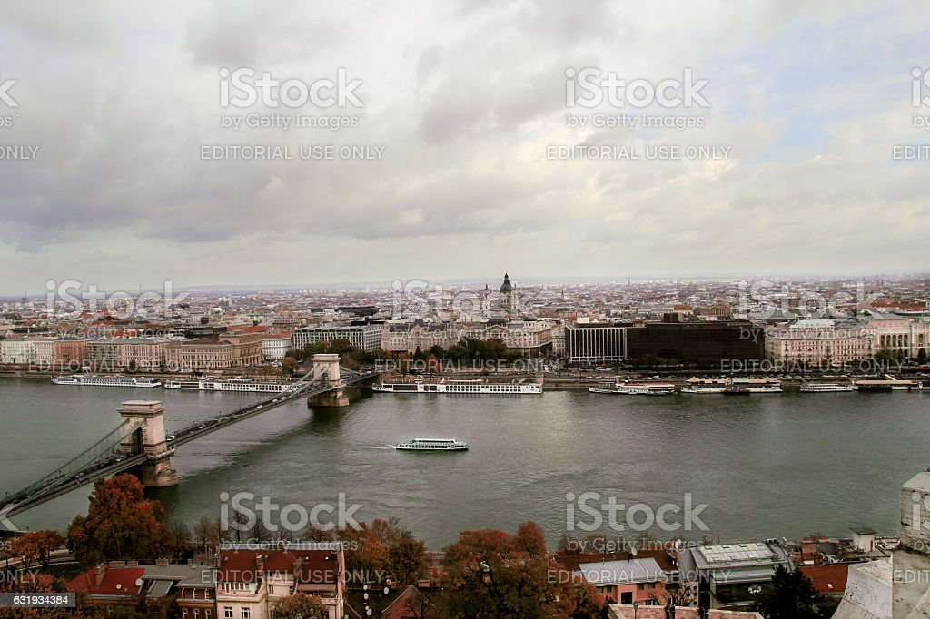 Szechenyi Chain Bridge in Budapest stock photo
