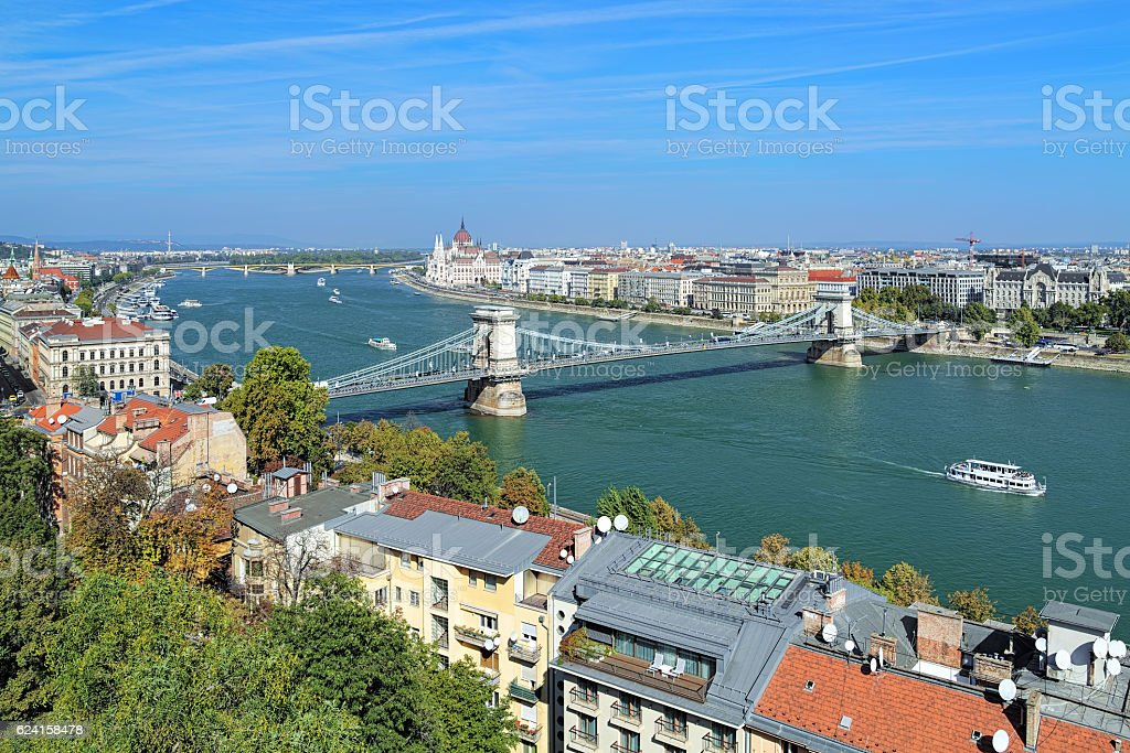 Szechenyi Chain Bridge over Danube in Budapest, Hungary stock photo