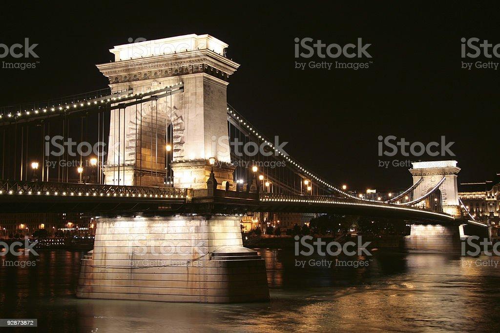 Szechenyi Lanchid at night royalty-free stock photo