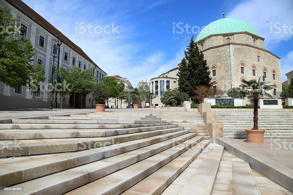 Szechenyi Square and Mosque of Pasha Qasim in Pecs, Hungary stock photo