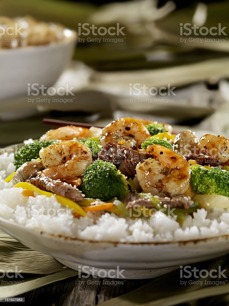 Szechuan Beef and Shrimp Stirfry royalty-free stock photo