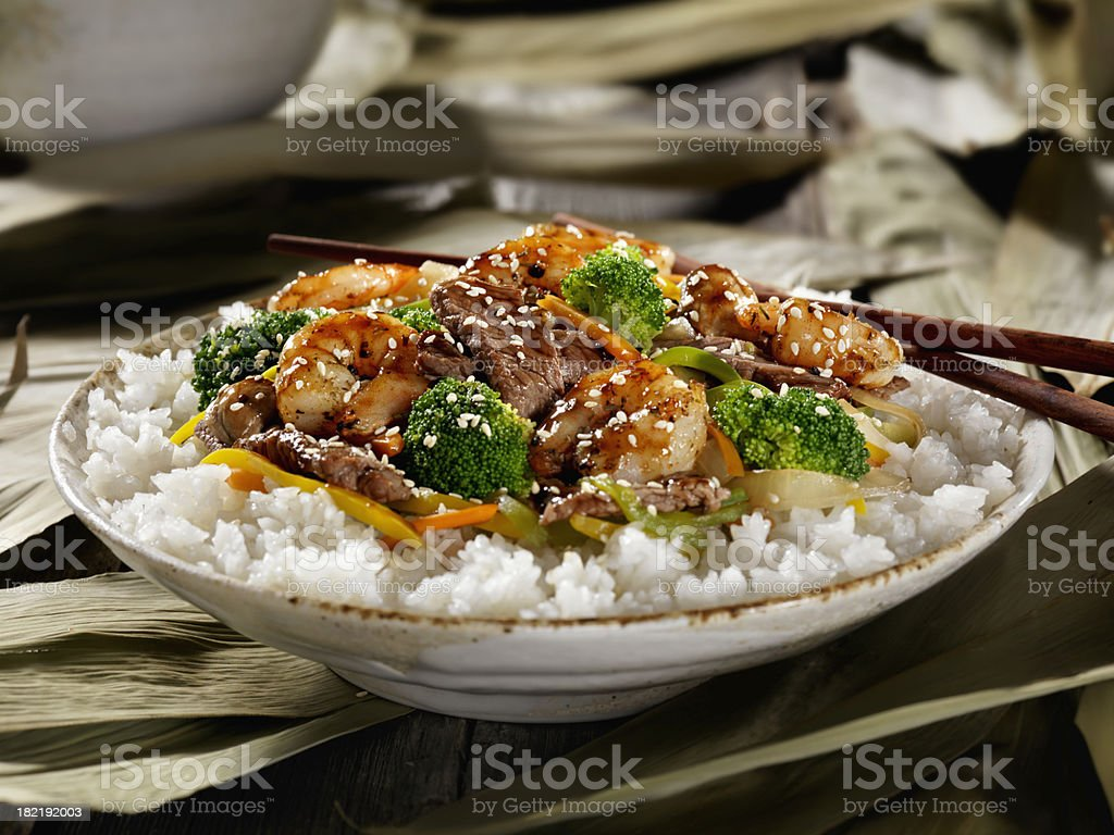 Szechuan Beef and Shrimp Stirfry stock photo
