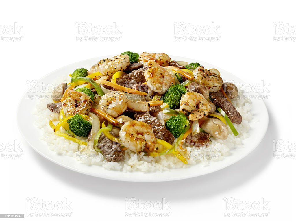 Szechuan Beef and Shrimp with Rice royalty-free stock photo