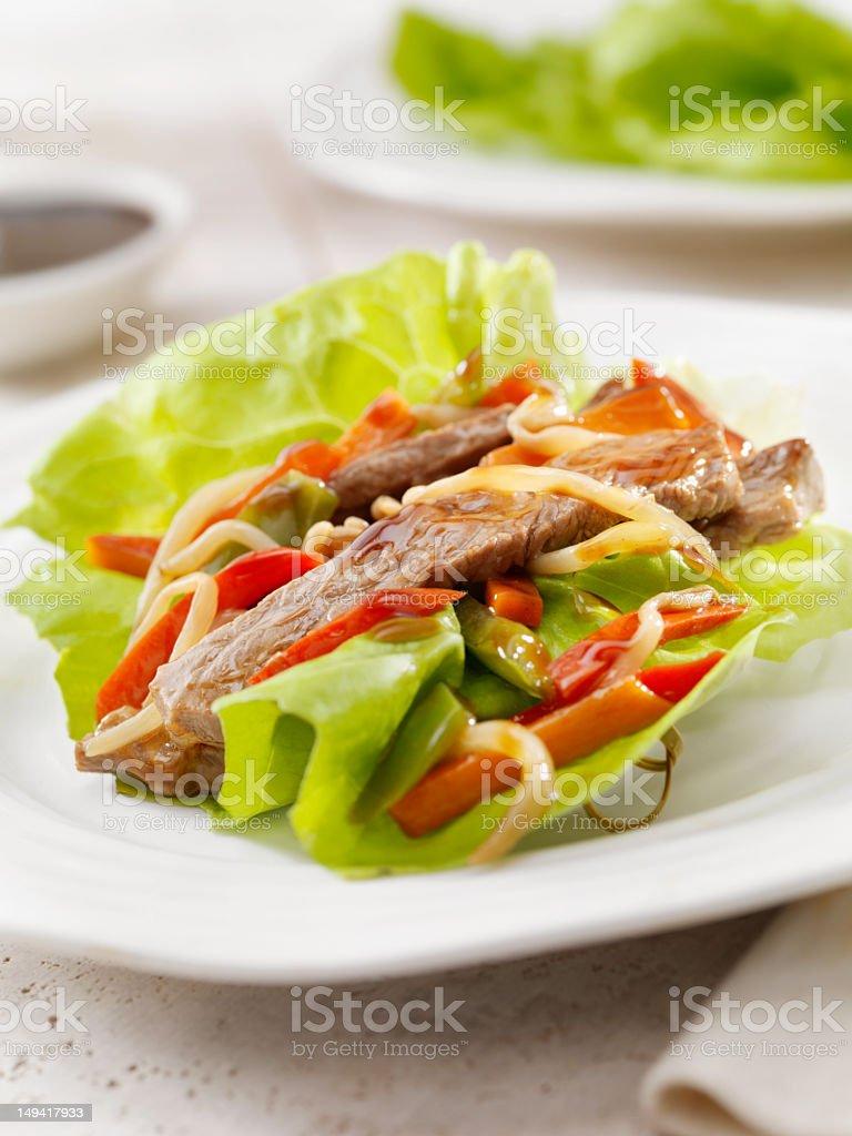 Szechwan Beef Lettuce Wrap royalty-free stock photo