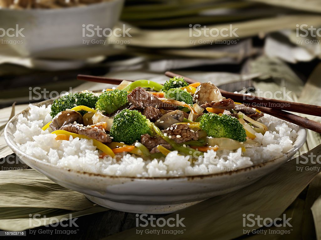 Szechwan Beef with Rice stock photo