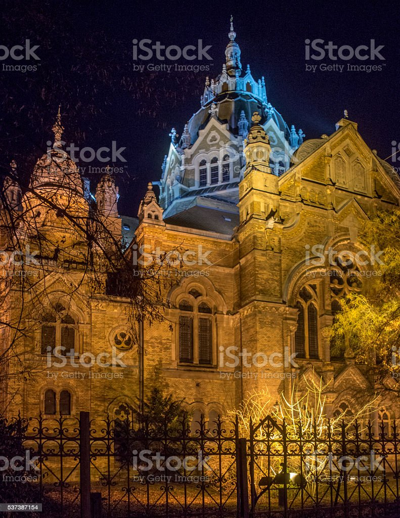 Szeged Synagogue by Night stock photo
