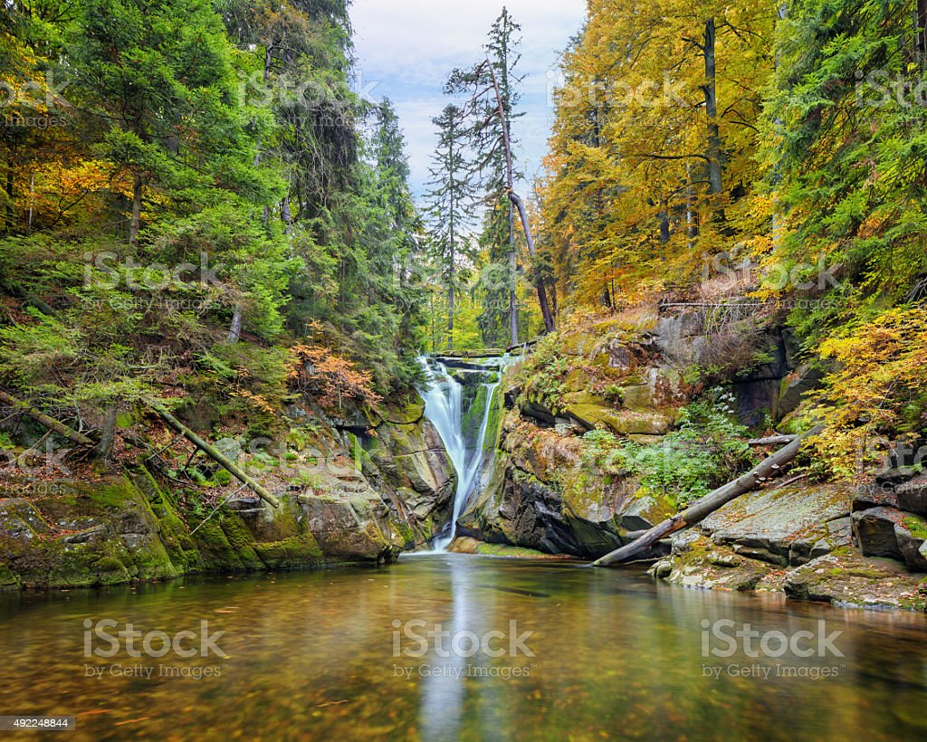 Szklarki waterfall in Poland stock photo