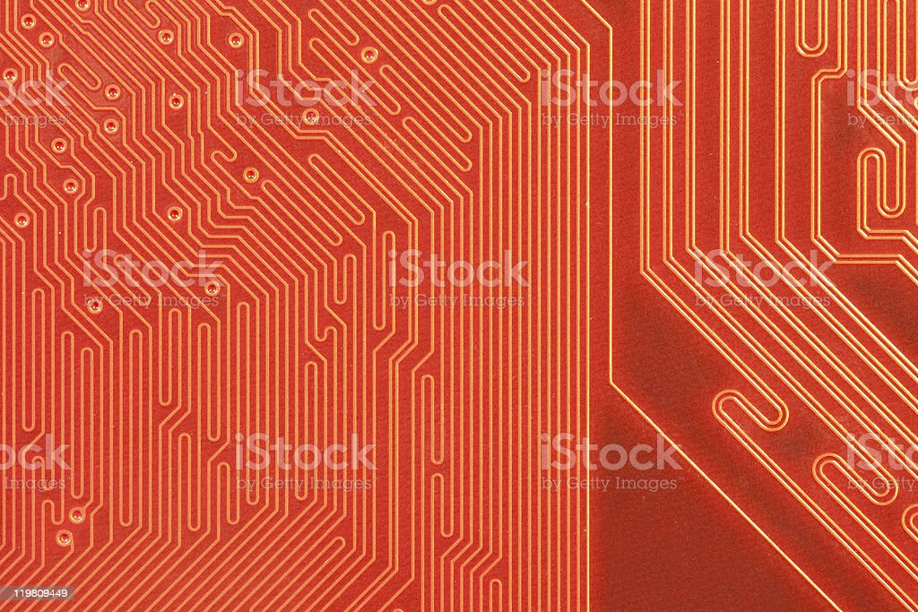 : \t Closeup of computer circuit board in orange royalty-free stock photo