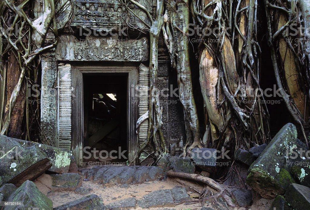 Ta Phrom doorway, Angkor Wat, Cambodia stock photo