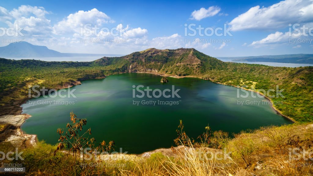 Taal volcano crater stock photo