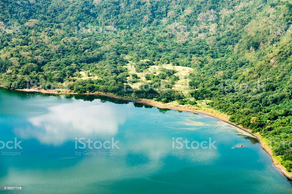 Taal Volcano lake crater in Philippines stock photo