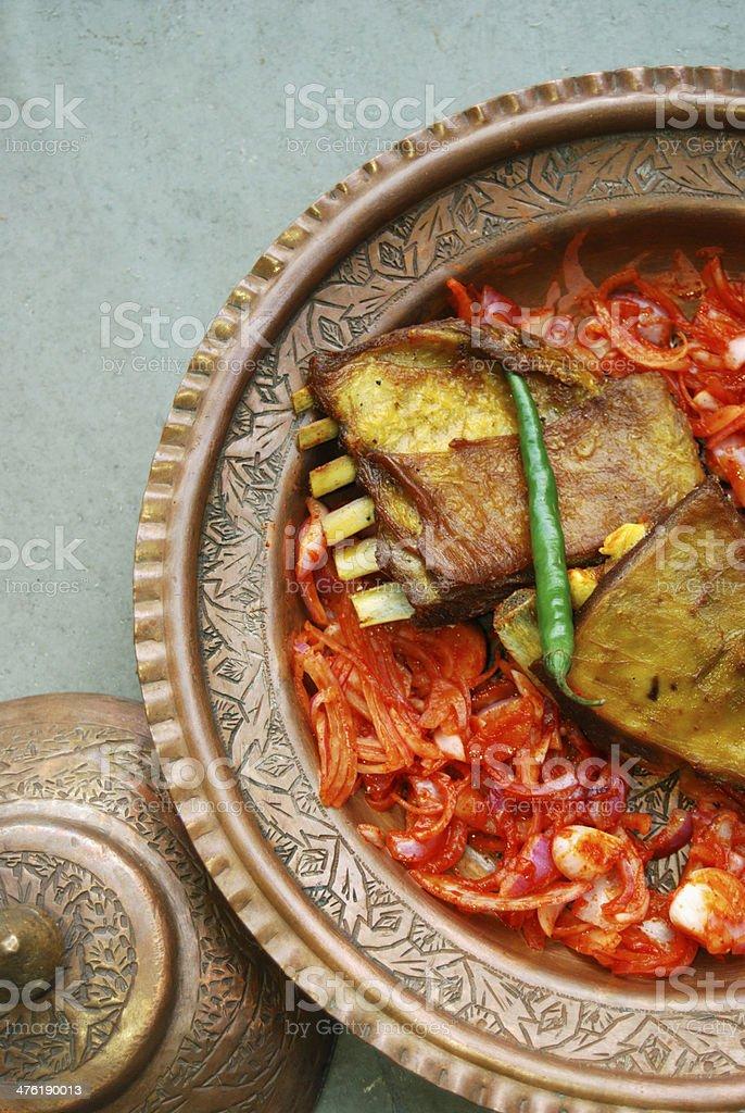 Tabak maaz lamb ribs are marinated in spiced yogurt stock photo