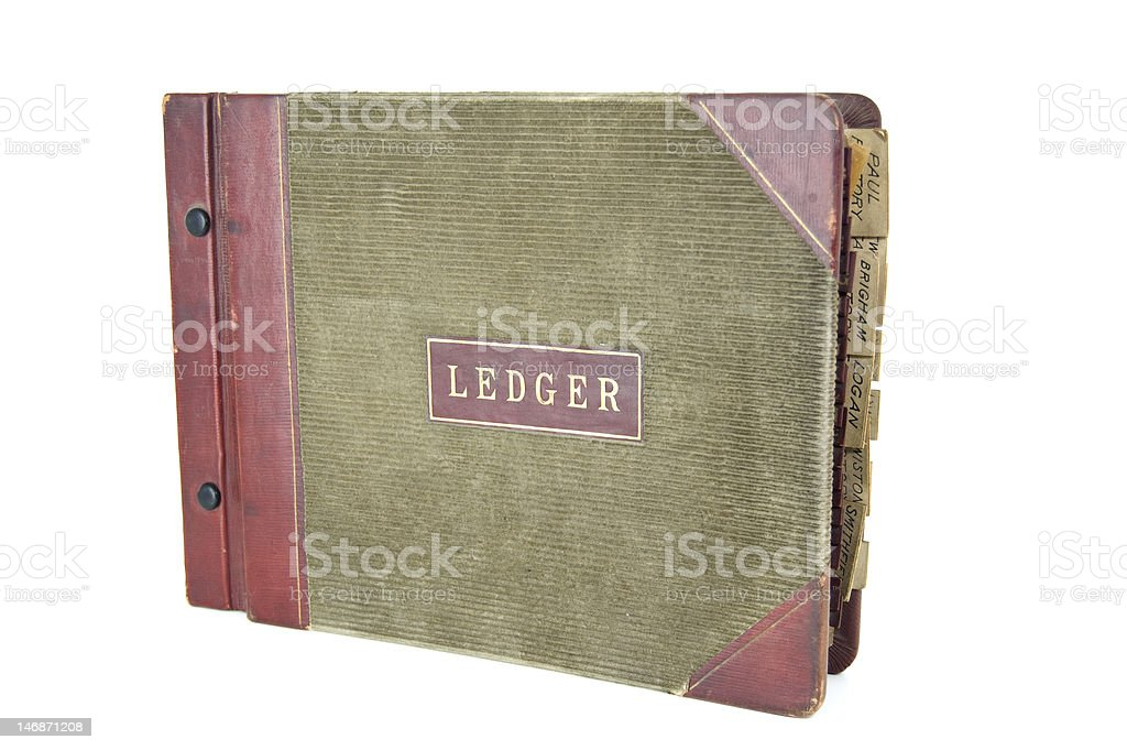 Tabbed Accounting Ledger stock photo