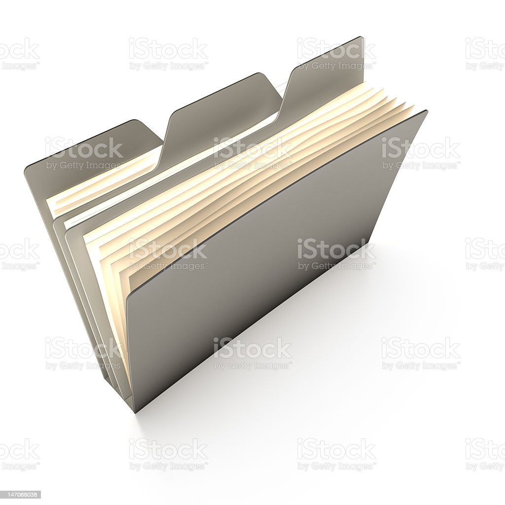 Tabbed folder (gray, with a clipping path) stock photo