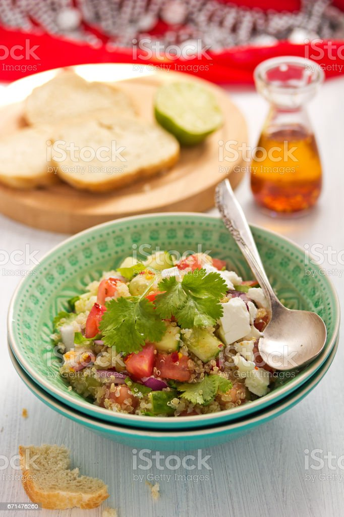 Tabbouleh with cucumber and tomato stock photo
