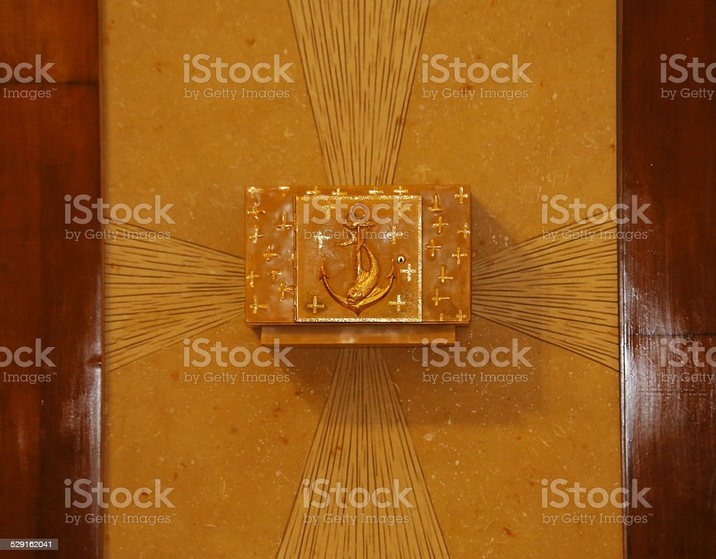 Tabernacle with the consecrated host into a European Church stock photo