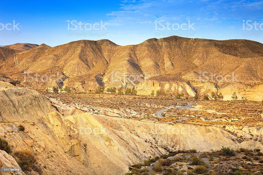 Tabernas desert mountains, andalusia, spain, cinema movie locati stock photo