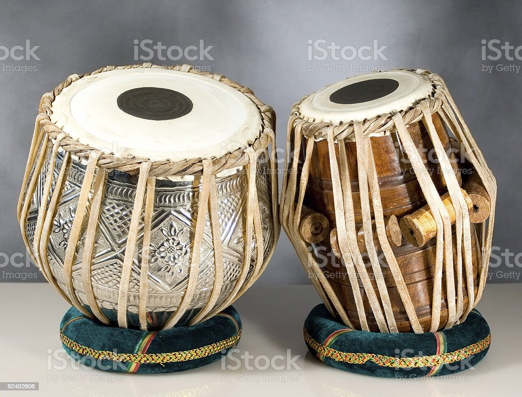 Tablas on White Table with Gray Mottled Background stock photo
