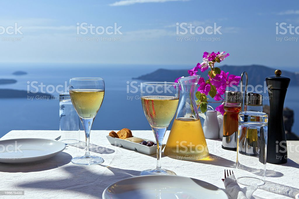 Table above sea for two. stock photo