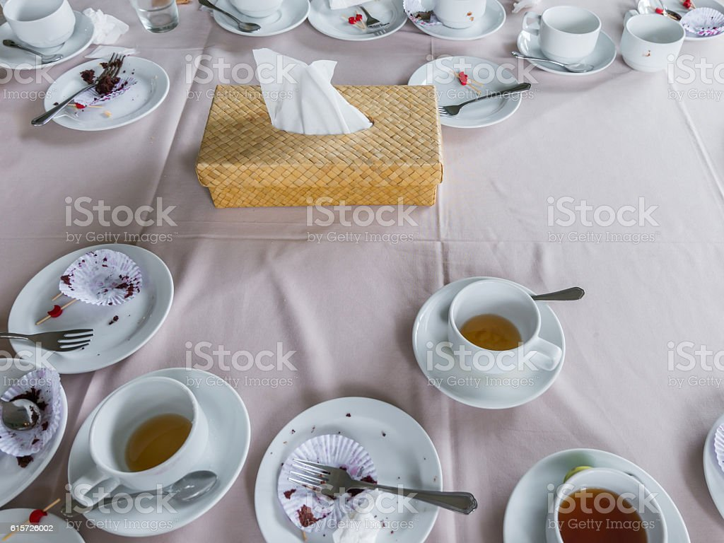 Table after eating Dessert Coffee Tea, Break at meeting stock photo