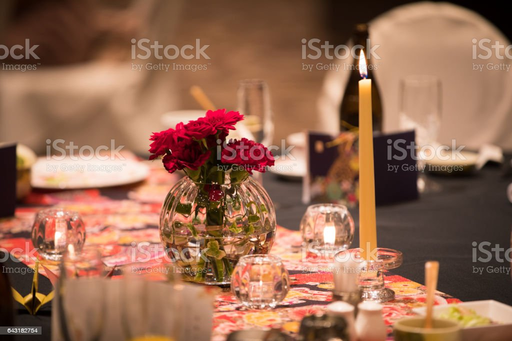 table after the wedding party stock photo