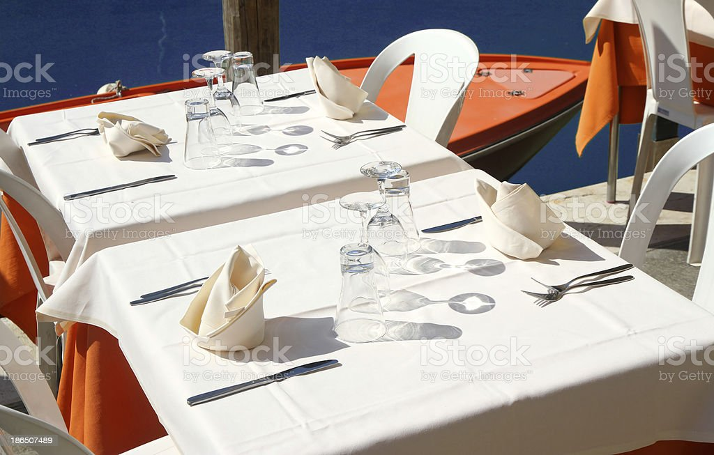 table an elegant Italian restaurant on the Canal in Venice royalty-free stock photo