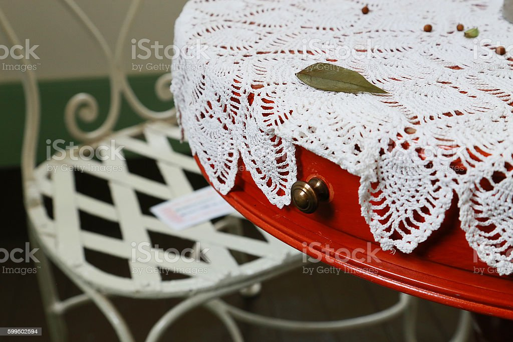 table and a chair and lacework color foto de stock libre de derechos