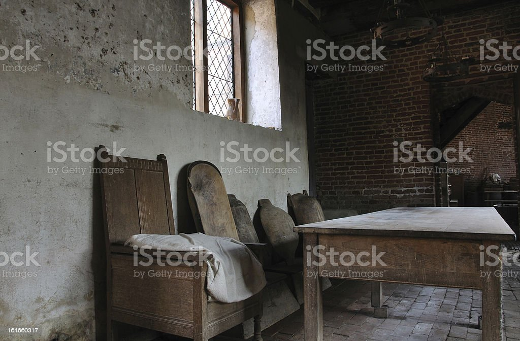 Table and chair in bake house royalty-free stock photo