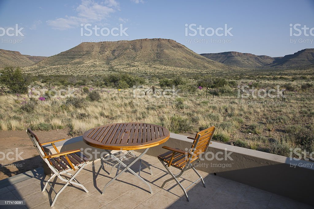 Table and Chairs in the Karoo stock photo