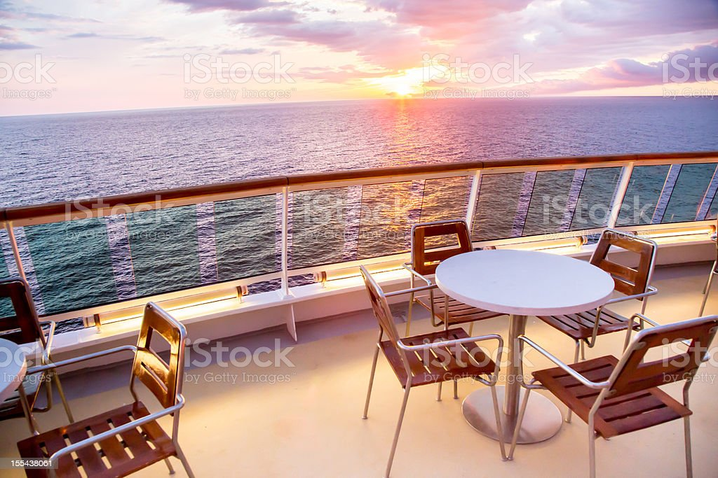 Table and Chairs on a Ship stock photo