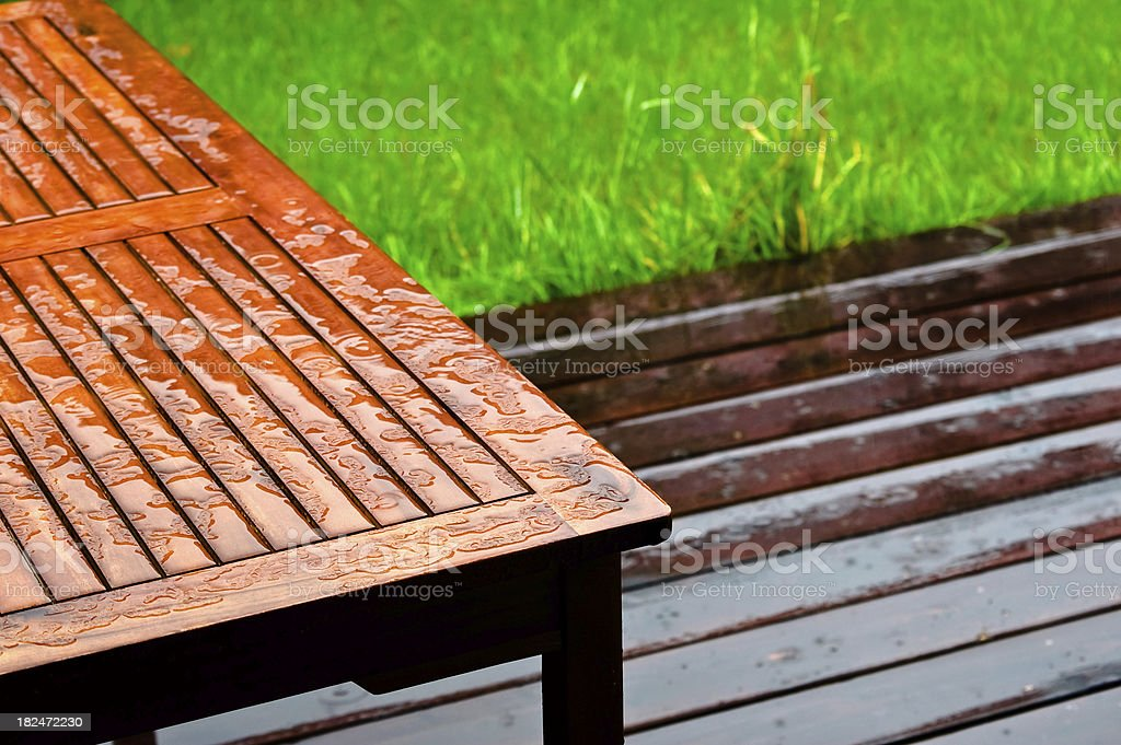 Table and Deck during Rain stock photo