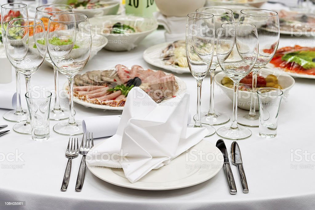 Table appointments for dinner in restaurant royalty-free stock photo